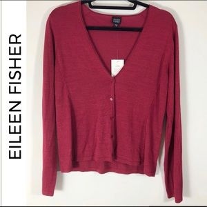 Eileen Fisher Silk Tussah Low-V Buttoned Cardigan